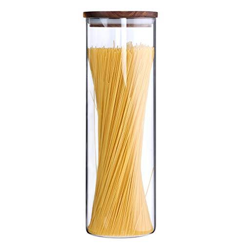 KKC Vorratsglas Spaghetti - Spaghetti Aufbewahrung Glas Luftdicht - Spaghettidose Glas - Pasta Behälter - Vorratsdose Glas für Spaghetti -Glasdose mit Holzdeckel 1850 ML