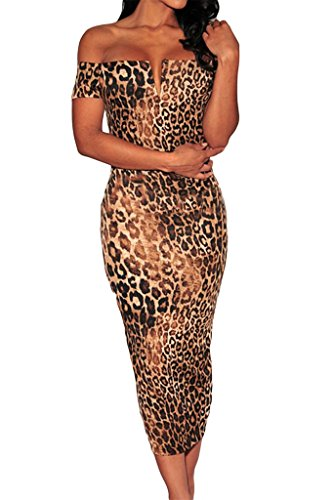 Happy Sailed Women's Leopard Print Off-the-shoulder Midi Dress, One Size Leopard