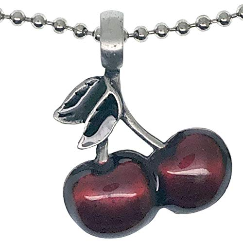 Gambling Jewelry Cherries Fruits (Slot Machine Cherry Fruit) Wealth Money Talisman Good Luck Lucky Charm Protection Amulet Pewter Unisex Men's Women's Pendant Necklace for men w Silver Ball Chain