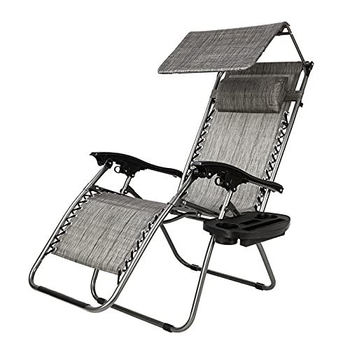 Heqianqian Sillas reclinables plegables Silla de salón de gravedad cero con toldo Silla de ocio reclinable plegable Sling Silla de playa Camping al aire libre Chaise Relaxer Sillones reclinables