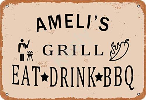Keely Ameli'S Grill Eat Drink BBQ Metall Vintage Zinn Zeichen Wanddekoration 12x8 Zoll für Cafe Bars Restaurants Pubs Man Cave Dekorativ