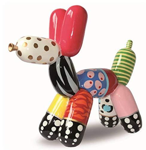 Laure TERRIER Statua in Resina, Cane Palloncino per Collezione o Decorazione. Modello Multicolore, 18 Centimetri di Lunghezza e 16 Centimetri di Altezza