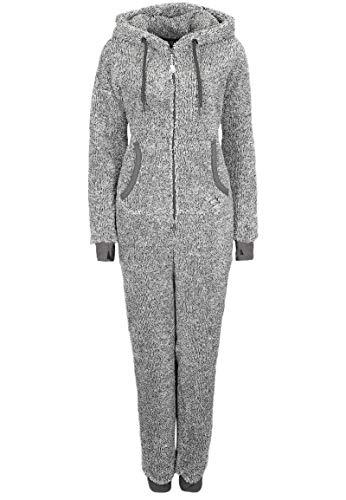 Eight2Nine Damen Jumpsuit aus kuscheligem Teddy Fleece | Overall | Ganzkörperanzug mit Ohren Dark-Grey - 2