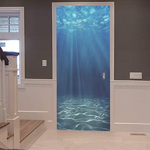3D Innentür Unterwasser Wandbild (77X200Cm) Kunst Abziehbilder Wasserdichte Vinyl Diy Home Decor Tapete Für Wohnzimmer Schlafzimmer Küche Badezimmer Dekoration