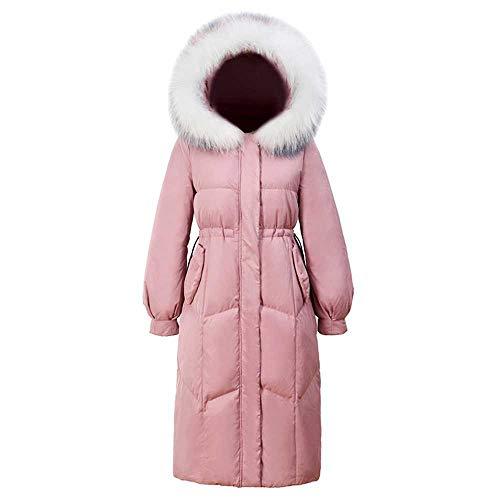 JYDJ Winter Waschbärpelz Kapuze Lange Frauen Daunenjacke Schwarz Rosa Dicke Warme Dünne Federmantel Damen Outwear
