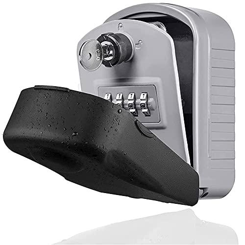 Caja de seguridad segura Montaje de pared Tecla de bloqueo de llavero a prueba de agua Caja de almacenamiento de teclas con código reiniciable Capacidad de almacenamiento grande Sistema de seguridad p