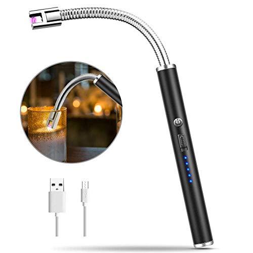 takestop® aansteker met boog, elektrisch, lang, flexibel, 25 cm, winddicht, oplaadbaar, compact, winddicht, USB, zonder vlam, geen gas, kleur willekeurig