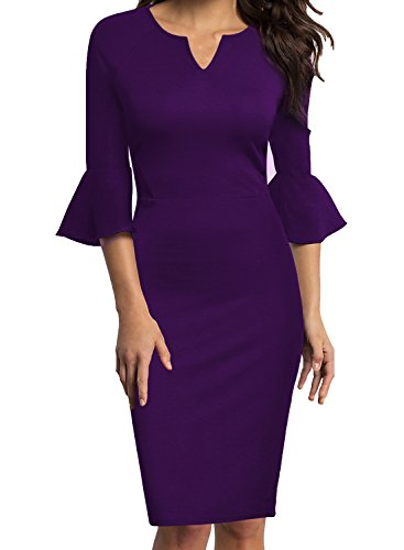 WOOSUNZE Womens Flounce Bell Sleeve Office Work Casual Pencil Dress (Purple, XX-Large)