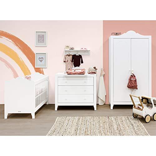 Chambre complète lit bébé 60x120, commode à langer et armoire 2 portes Evi - Blanc