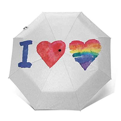 Regenschirm Taschenschirm Kompakter Falt-Regenschirm, Winddichter, Auf-Zu-Automatik, Verstärktes Dach, Ergonomischer Griff, Schirm-Tasche, Ich Liebe Akronym Piktogramm