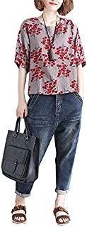 JINPINレディーズ tシャツ 女性上着 夏服 綿とリネン カジュアル 着やせ サイズプラス 花柄 通勤