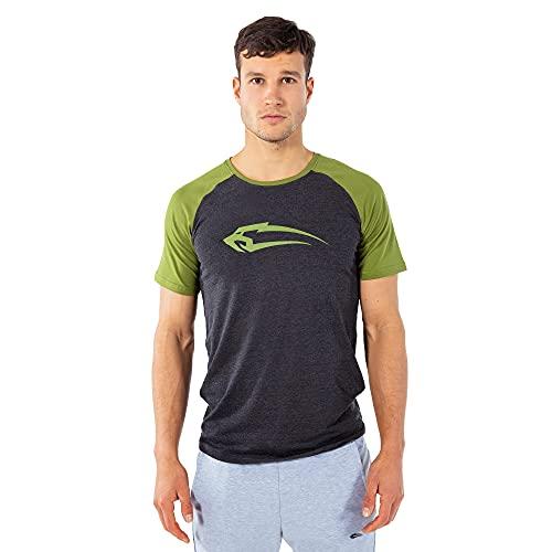 SMILODOX Slim Fit T-Shirt Herren '4.0' | Kurzarm | Casual Top | Funktionsshirt für Sport Fitness Gym & Training | Trainingsshirt - Laufshirt - Sportshirt mit Logo, Größe:L, Farbe:Anthrazit/Grün