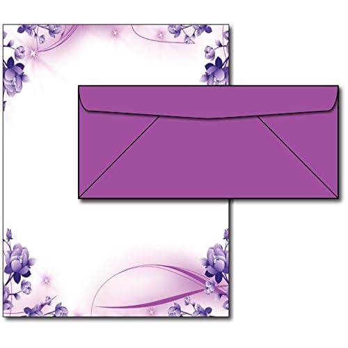 Purple Passion Stationery Paper & Envelopes - 40 Sets