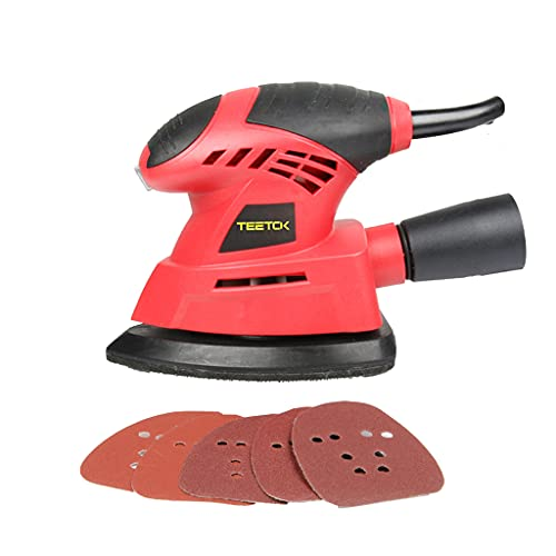 130W Electric Mouse Detail Sander Orbital Sander Palm Hand Sanding Machine for Wood Wall Metal with 6PCS Sanding Sheets