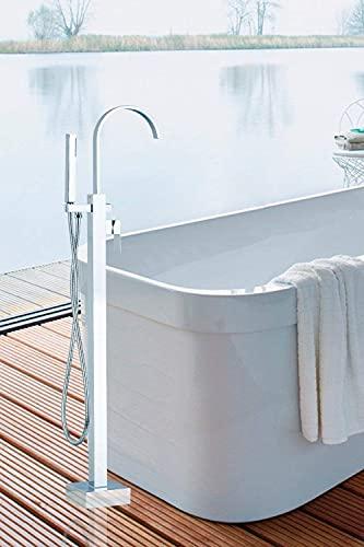 ZCYXQR Grifo Hello Juego de Ducha de bañera de una manija Montado en el Piso Níquel Cepillado Lavabo de baño Lavabo Recipiente de latón Mezcla de Grifo (Ducha para el hogar)