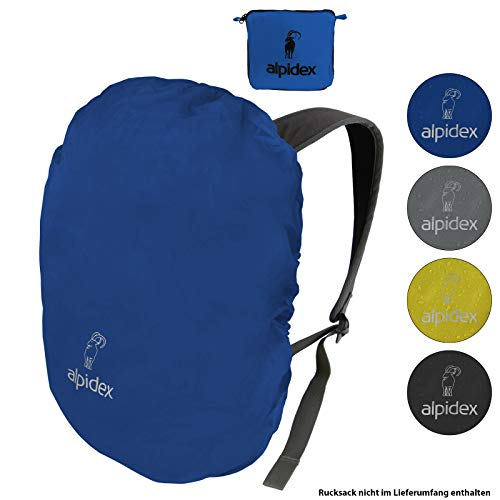 ALPIDEX Rucksack Regenschutz wasserdichte Regenhülle Kordelstopper Packsack Verschiedene Größen, Farbe:Blue, Volumen:6-15 Liter