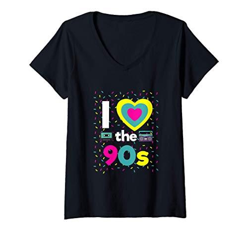 Femme Déguisement des années 90 J'aime le déguisement de la fête T-Shirt avec Col en V