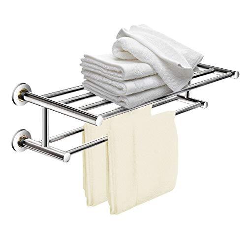 GOPLUS Handtuchablage Badetuchhalter Wand Handtuchhalter Handtuchständer Badetuchstange, Doppelte Handtuchstange aus Edelstahl