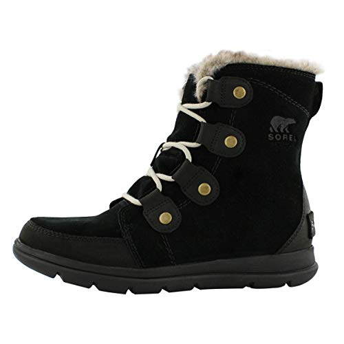 Sorel Womens Explorer Joan Snow Suede Rain Winter Ankle Waterproof Boots - Black/Dark Stone - 7