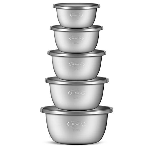 HUAFA Set 5 Ciotole da Cucina in Acciaio Inox Insalatiera 1.5L/ 2L /2.7L / 3.4L /4.4L toccaggio, Ciotole di Frutta,Ciotole di Popcorn