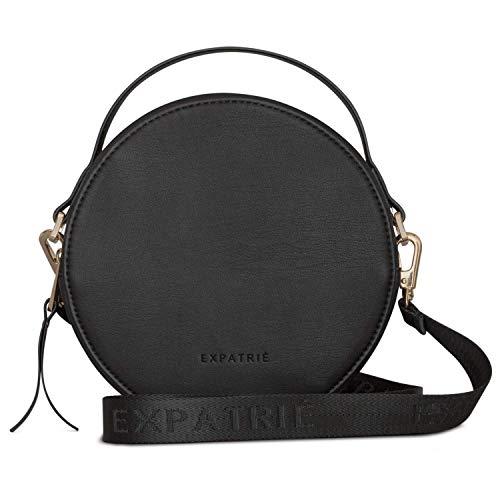 Runde Tasche Damen Schwarz Klein - Expatrié Crossbody Tasche aus Veganem Leder - PU Ledertasche Umhängetasche Klein - Trendy Handtasche mit abnehmbaren & verstellbaren Schulterriemen