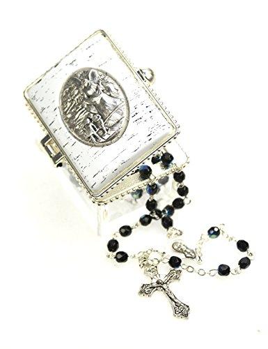 Ars-Bavaria - Rosario para primer día de la Primera Comunión, para bautizo, para la presunción de hermosas rosas, de perlas de cristal de color azul oscuro, en caja de ángel de la guarda