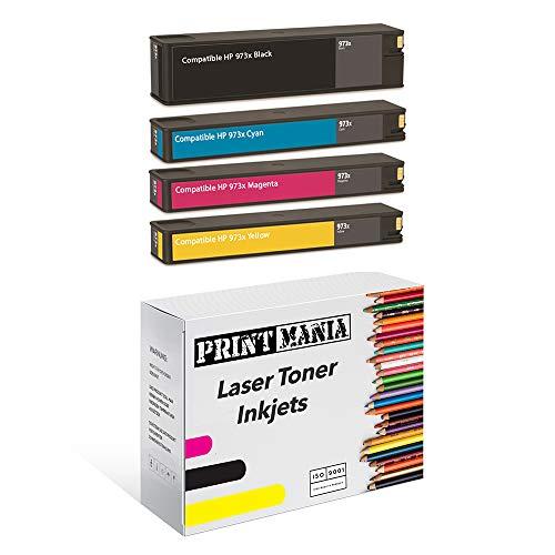 Printmania - 4 Unidades compatibles con HP 973X (Negro, Cian, Magenta, Amarillo, HP L0S07AE, F6T81AE, F6T82AE, F6T83AE)