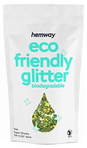 Hemway Biologisch abbaubare Eco Körper Glitter - Cosmetic Safe - 100g Super-Klobig - Lindgrün Holographisch