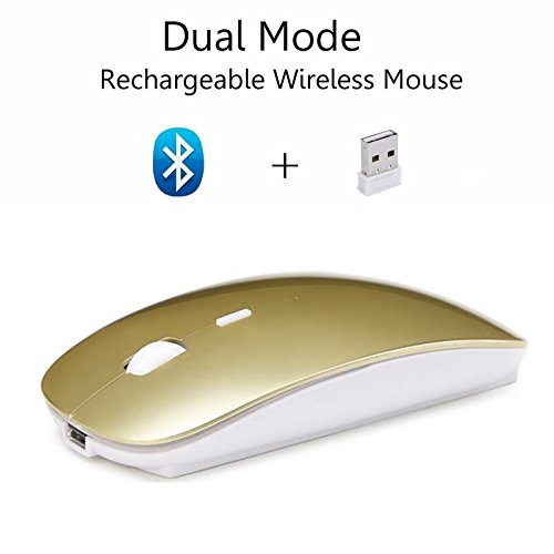 Cliry 2018 Wireless 2.4Ghz + Bluetooth 4.0 Dual Mode Rechargeable Mouse 1600 DPI Ultra-Thin Ergonomic Portable Optical Charging Best Qulity Mice (Gold)