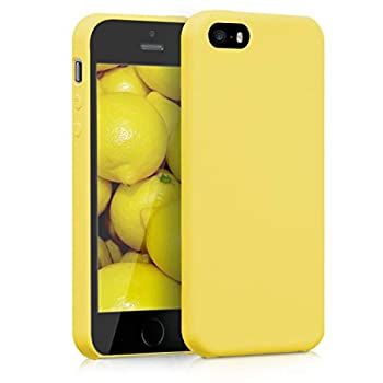 kwmobile TPU Silicone Case Compatible with Apple iPhone SE 1.Gen 2016 / 5 / 5S - Case Slim Protective Phone Cover with Soft Finish - Yellow Matte