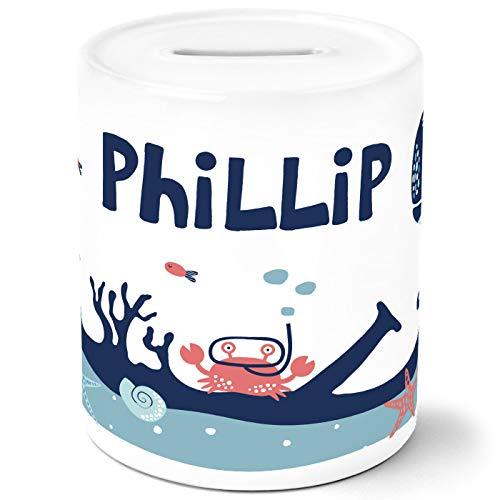 SpecialMe® Kinder Spardose mit Namen Unterwasserwelt Tiere Wal Fisch Krebs Sparschwein Keramik weiß Unisize