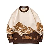 TOLOER Hombres Harajuku Moutain Invierno Suéteres 2021 Pullover Mens Casual Moda Suéter Mujeres Vintage Ropa Pareja