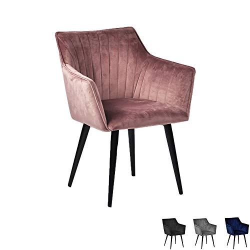 Nimara Mary Samt Stuhl mit Armlehne | Esszimmerstühle Rosa | Stühle mit Armlehne | Skandinavisches Design Armlehnstuhl (Rosa)
