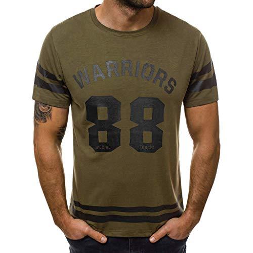 Yowablo Herren Poloshirt Polohemd Stehkragenshirt Kurzarmshirt Funktionsshirt Sportshirt Fitness Shirt Tee T-Shirt Sporthemd Trainingsshirt Sportswear T-Shirt (L,Armeegrün)