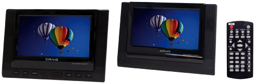 Best Buy! Craig 7-Inch TFT Dual Screen Portable DVD Player, Black (CTFT719)