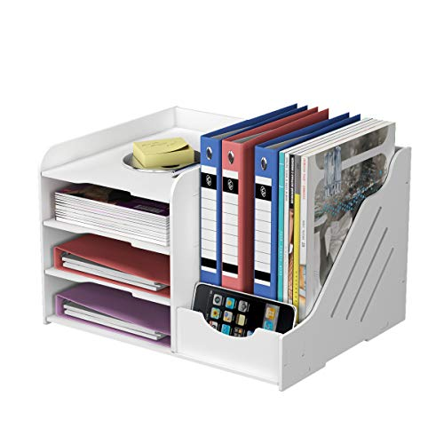 Natwind Organizador de papel de oficina de 4 niveles con soporte de documentos de oficina Proveedores de almacenamiento para accesorios de carta de papel, organizador de escritorio para oficina y hogar