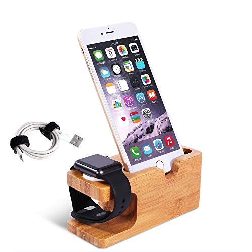 Adurei Apple Watch Bambus Stand Holz Aufladen Docking Station Kompatibel mit iWatch 44/42/40/38mm und iPhone 11 XS X i8 i7 i6/Plus 5S SE