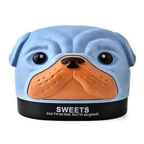 [Queen-b] ロールペーパー ケース ホルダー かわいい パグ 犬 動物 ティッシュ ボックス カバー トイレットペーパー 収納 インテリア 卓上 洗面所 (ブルー)