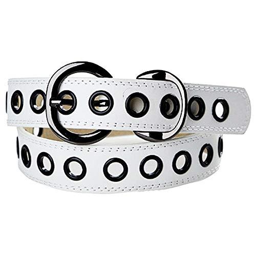 Cinturón de mujer - hombre blanco con tachuelas - cuero ecológico - Idea de regalo de cumpleaños