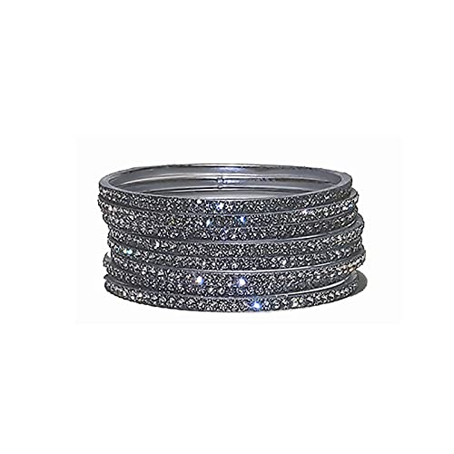 Indian Crafty Vibes Traditional Glitter Bangles Bracelets for Girls and Women Churi- Silver- Alloy