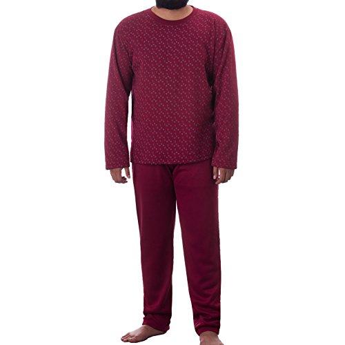 LUCKY Herren Thermo Pyjama Rundhals angerauht mit Paisely Muster Schlafanzug Winter, Farbe:Bordeaux;Größe:XXL