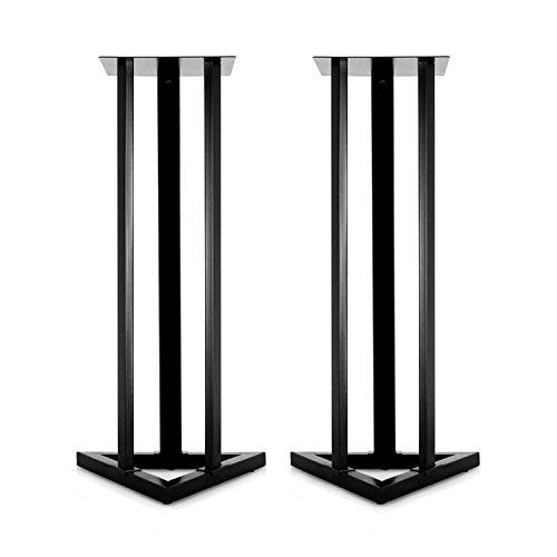 MALONE ST-1-STU Design Lautsprecherständer Paar Boxenständer für Studio Regal Lautsprecher (2X Stahlstativ, jeweils 28 x 28cm Abstellfläche, 93cm Höhe) schwarz