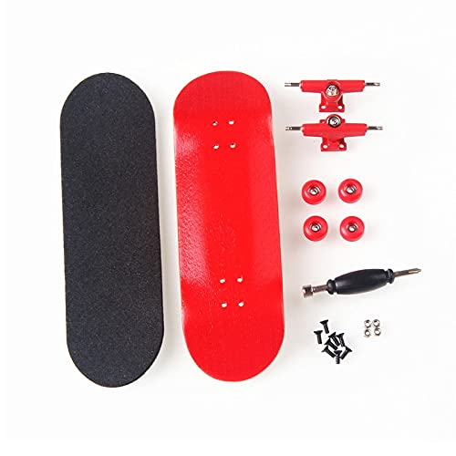 LIBAISI Monopatín de los Dedos 8 Color Skate Toys Tipo Profesional Rodamientos Ruedas Skid Pad Mapate Madera Monopatín Pieza de patinetas ( Color : Red )