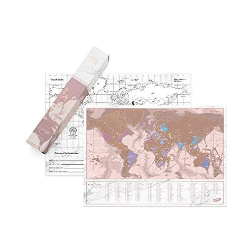Luckies of London Scratch Map Rose Gold Travel Edition - Mappa del mondo da grattare - Rosa/Oro