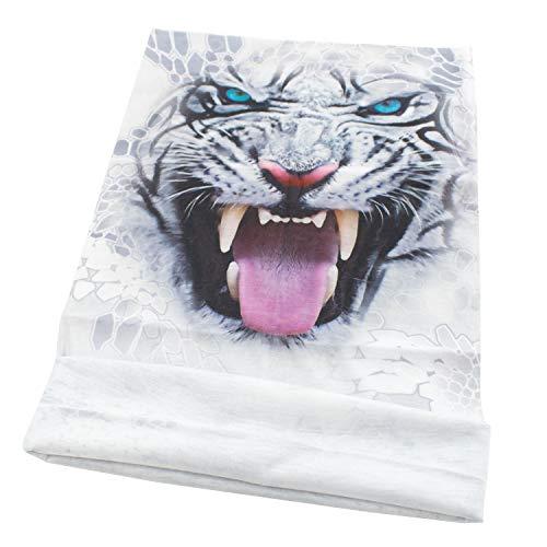 TRIXES White Tiger Animal Design - Écharpe tubulaire en bandoulière avec bandoulière Bandana - - Tête multifonctionnelle - - pour motards - Polyester extensible - Unisex - Taille unique