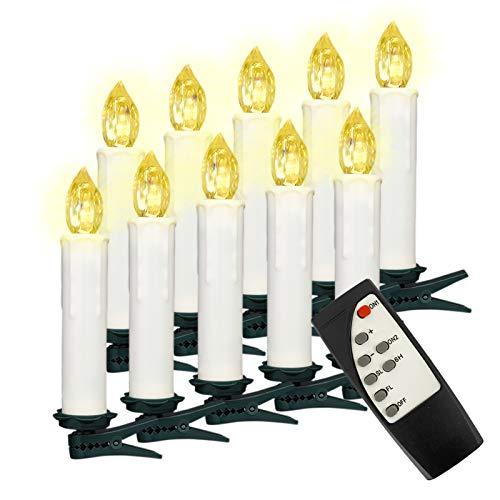 Soontrans LED Christbaumkerzen Kabellos Weihnachtsbaumkerzen Weihnachtskerzen Warmweiß Flammenlos mit Timer-Fernbedienung für Außen Innen Weinachtsdeko Halloween Hochzeit Party 10er