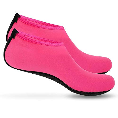 Boolavard Wassersportschuhe Barfuß Schnell trocknende Aqua Yoga Socken Slip-on für Männer Frauen Kinder (Pink, Numeric_38_Point_5)
