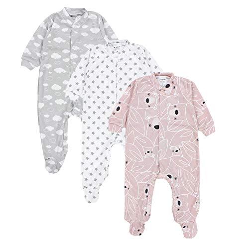 TupTam Baby Mädchen Schlafstrampler mit Fuß 3er Pack, Farbe: Farbenmix 1, Größe: 92