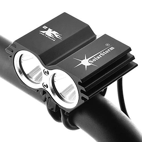 YMYGCC Luz de la Bicicleta 5000 lúmenes 2X XML U2 LED SolarStorm Bicicleta de la Bici de la luz Delantera de la lámpara de la Linterna del Faro (sin la batería)