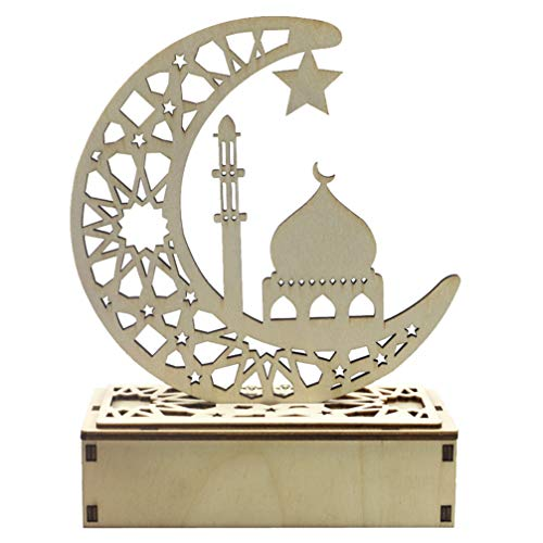 PRETYZOOM Led Nachtlampje Eid Mubarak Ramadan Maan Nachtlampje Decoratieve Houten Nachtkastje Lamp Voor Moslim Feestdecoraties Cadeau Zonder Batterij (Kasteel)